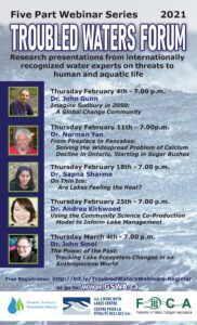 Troubled Waters Forum poster outlineing webinar topics and speakers.